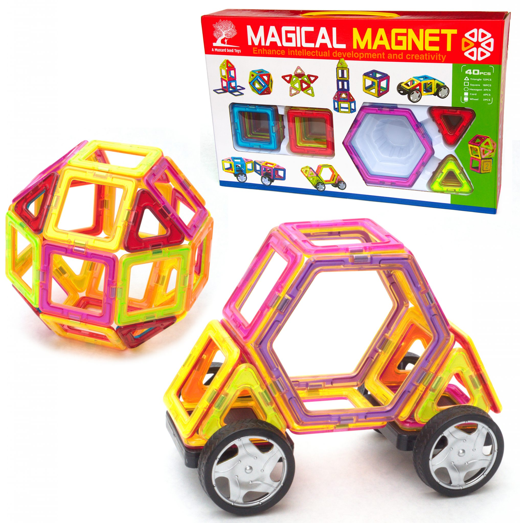 40 Pc Magnetic Tile Building Block Set A Mustard Seed Toys