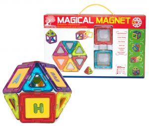 20 piece magnetic tile set package and ball