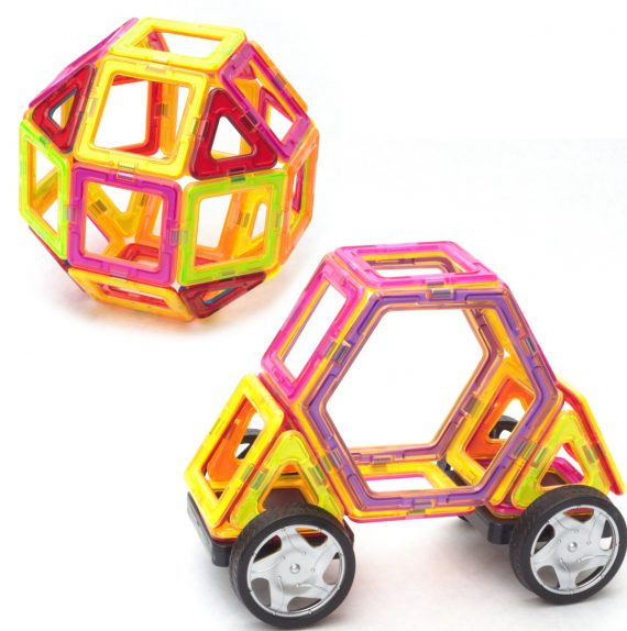 building a car and ball with magnetic tiles