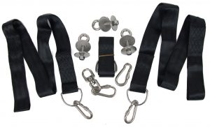Tire Swing Hanging Kit, eye bolts, straps, and carabiners