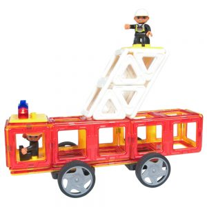 Magnetic tile Fireman set, fireman On Ladder
