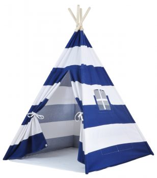 kids teepee tent with navy stripes