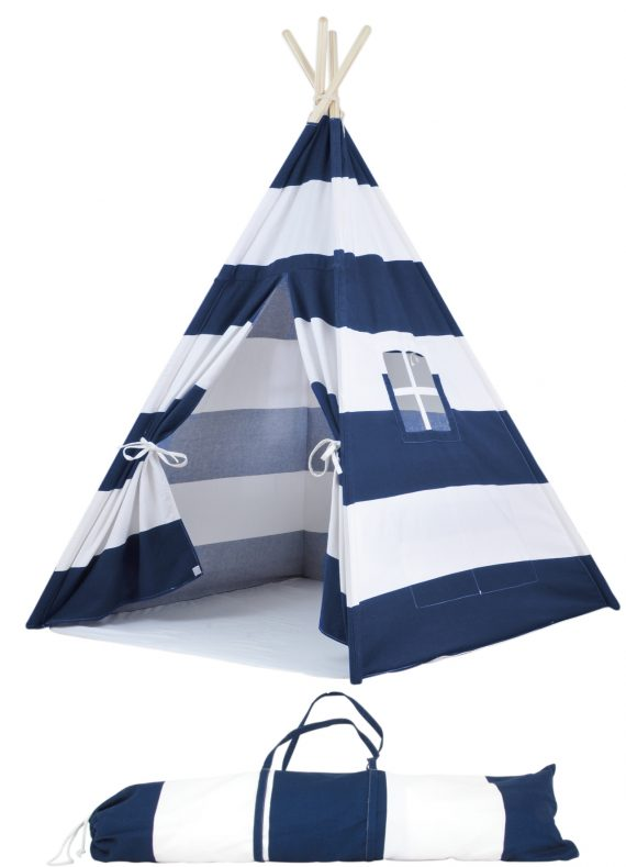 navy striped kids teepee tent with case
