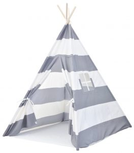 kid's teepee play tent with large gray stripes