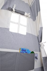 large tipi tent with window ties and toy pockets