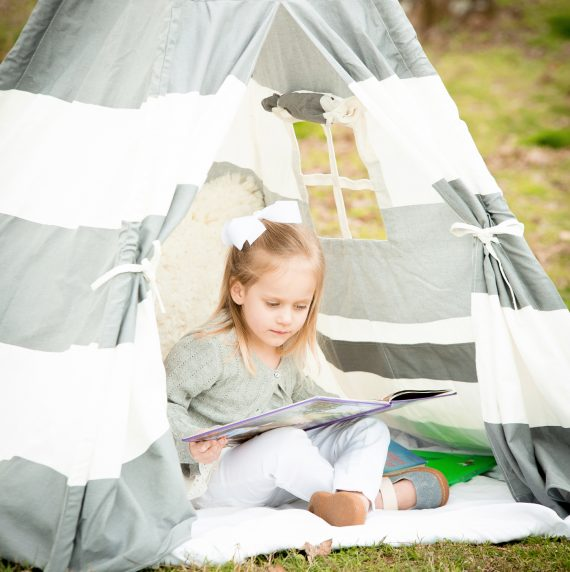 Gray Teepee – Girl Reading