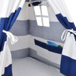Canvas teepee tent window and storage pocket