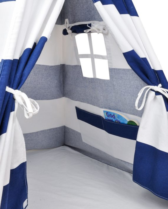 Canvas teepee tent window and storage pocket