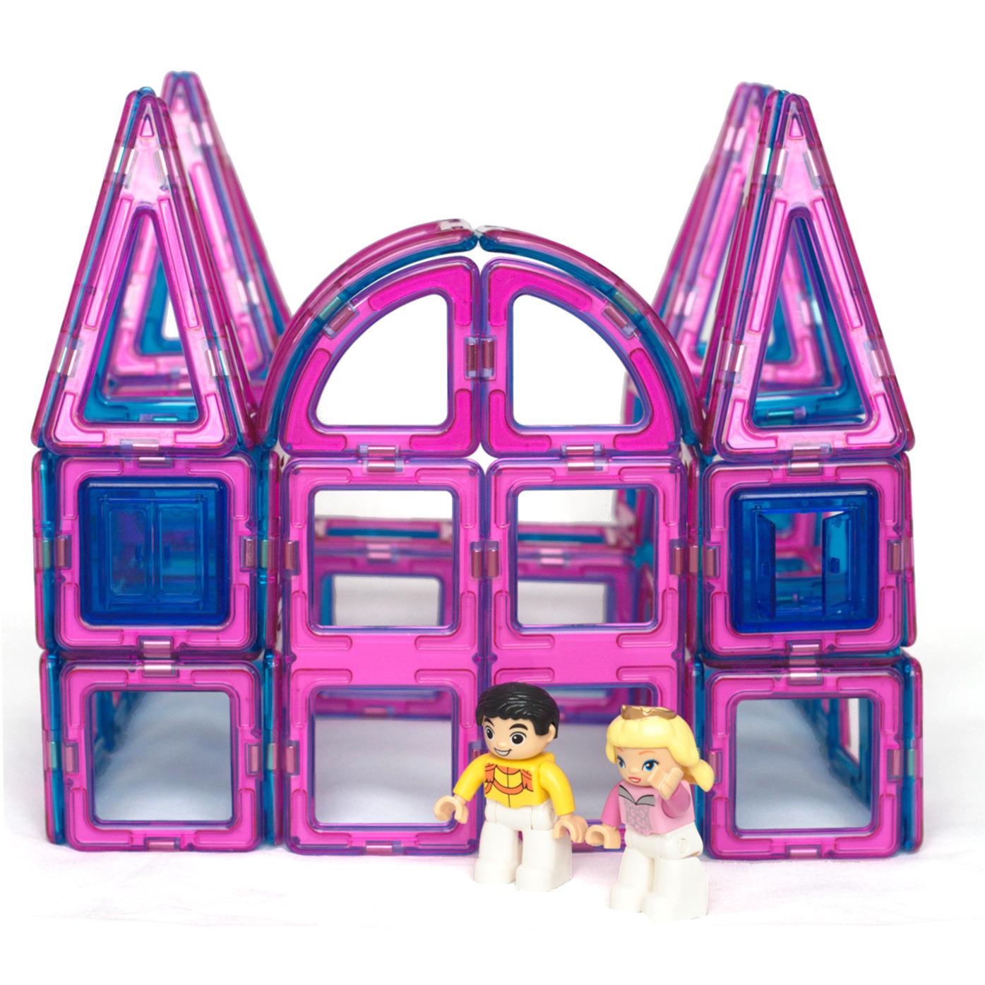 Magnetic Tile Princess Castle Set 62 Piece Kit Pink And