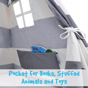 gray teepee tent interior with storage pocket