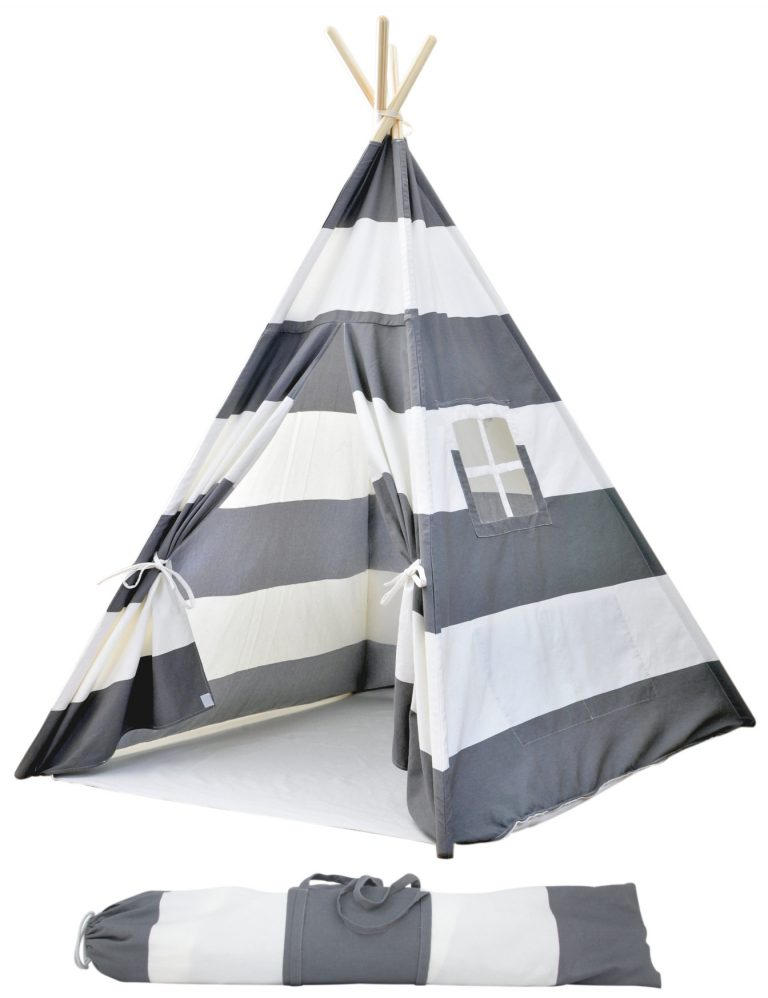 Gray and white striped canvas teepee tents for kids