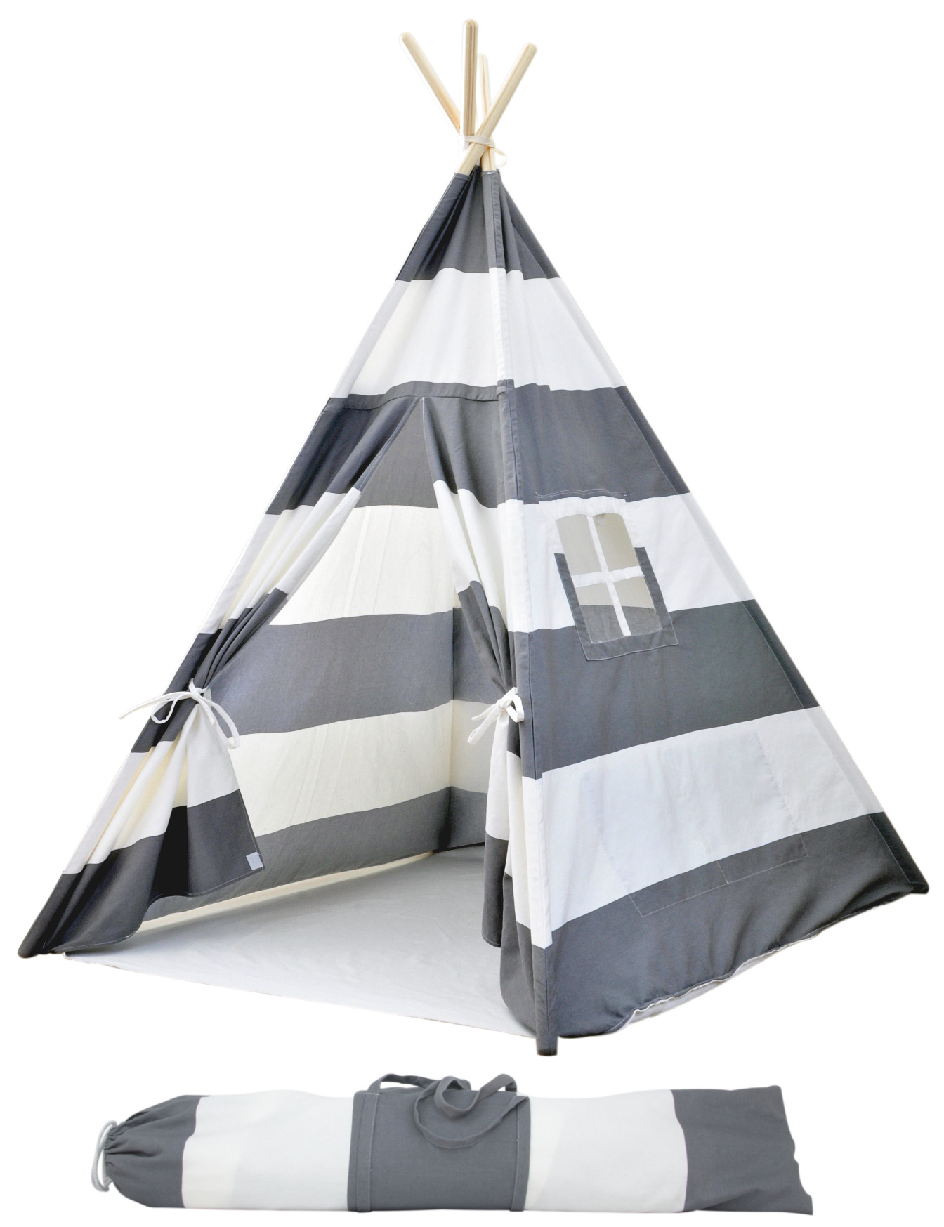 Portable Canvas Teepee Tents for Kids with Carrying Case Large Gray Stripes - A Mustard Seed Toys  sc 1 st  A Mustard Seed Toys & Portable Canvas Teepee Tents for Kids with Carrying Case Large ...