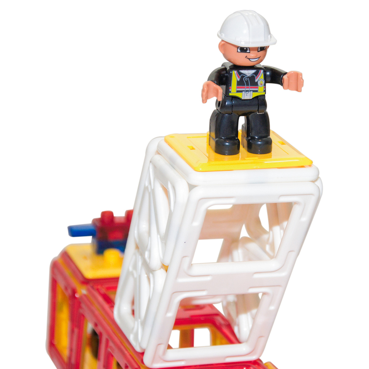 Magnetic Tile Fire Truck Set 34 Pieces Red Or Yellow