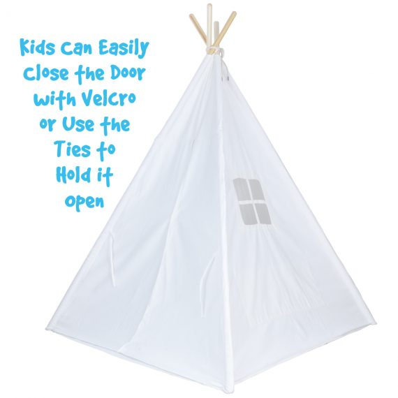 white canvas teepee tent with door closed