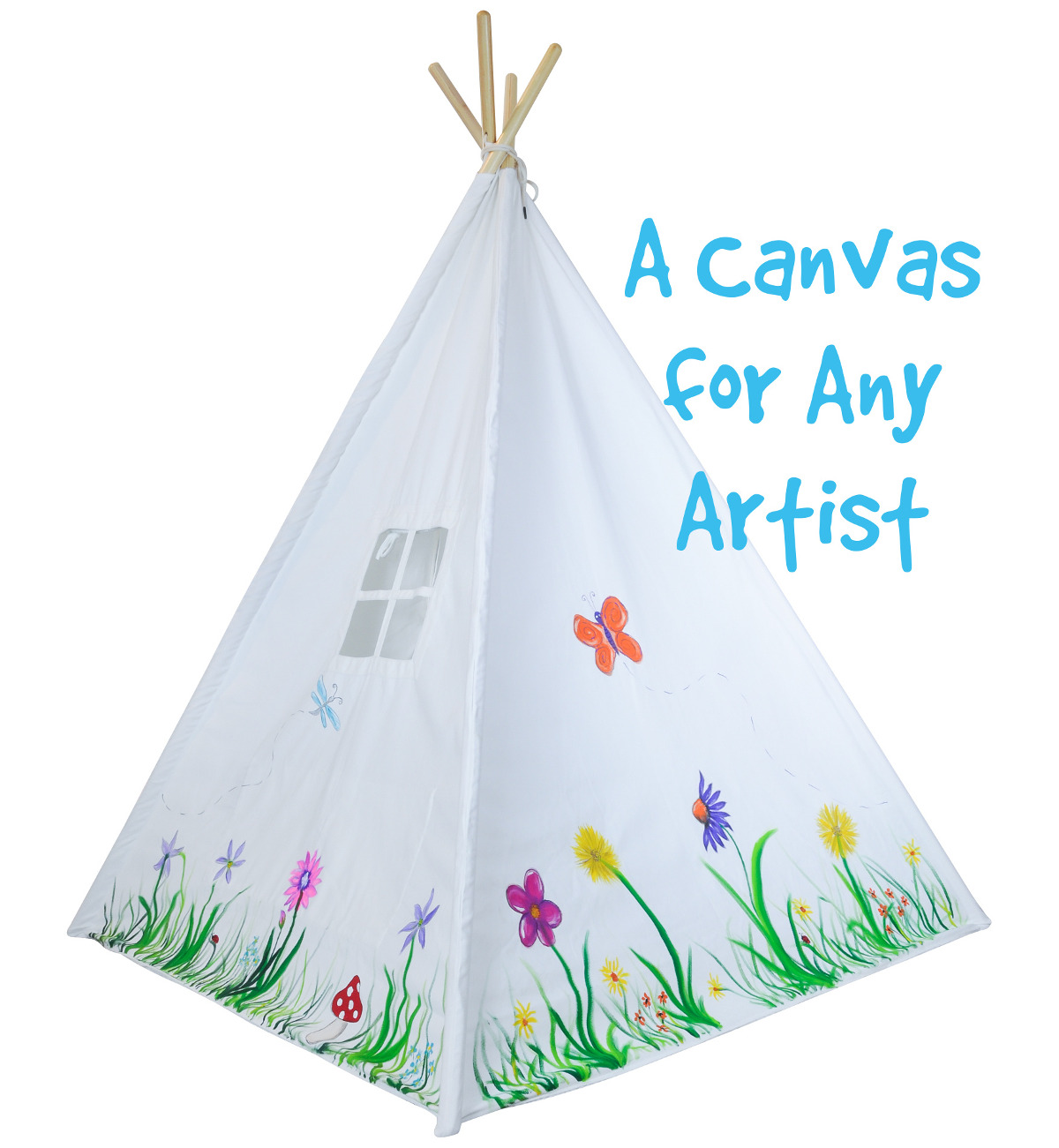 Painted White Teepee Tent  sc 1 st  A Mustard Seed Toys & Portable Kids Canvas Teepee Tent with Carrying Case White Cotton ...