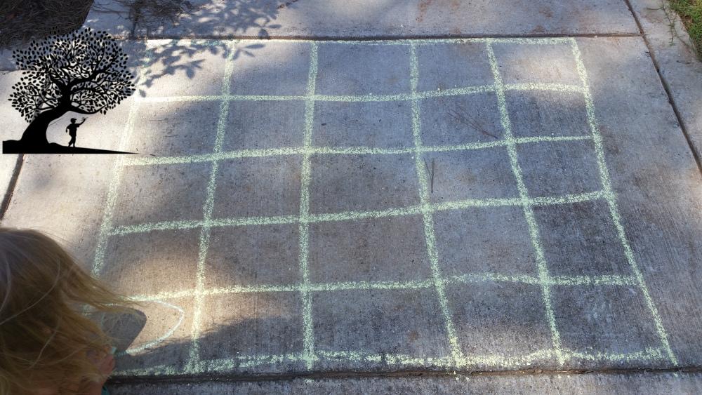 Connect Four with sidewalk chalk