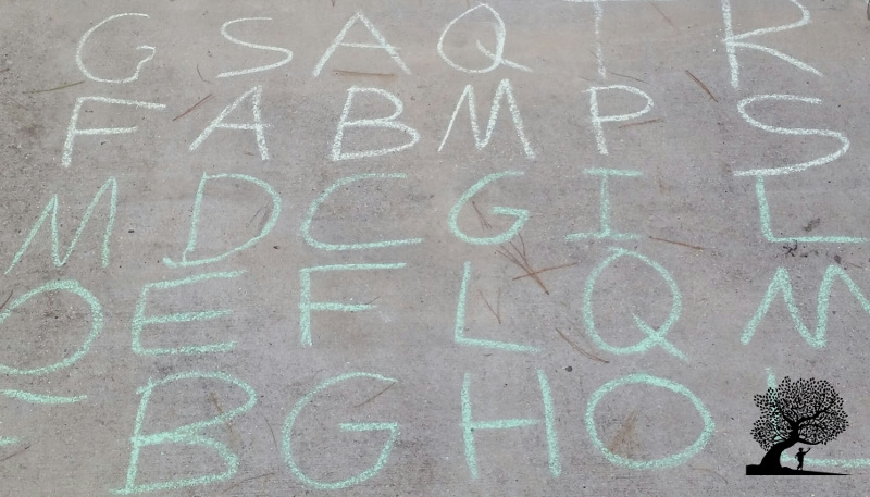 Alphabet Maze sidewalk chalk game