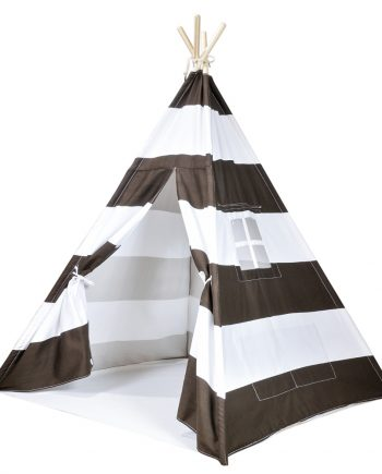 brown striped canvas teepee tent