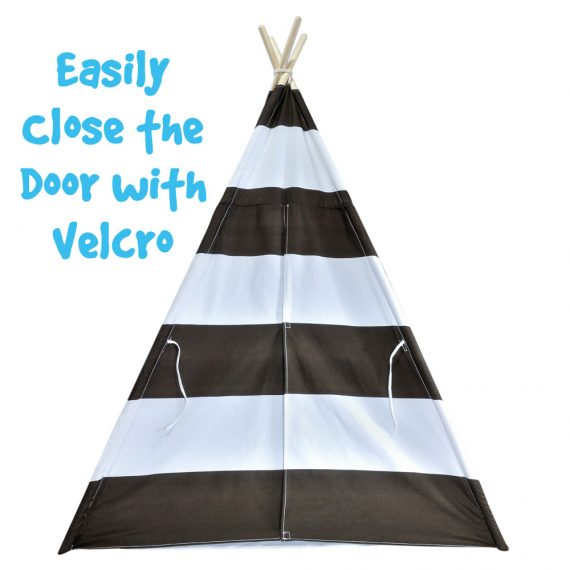 brown striped tent velcro door