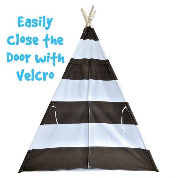 brown striped tent velcro door