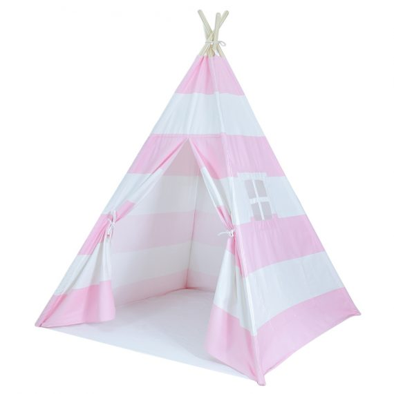 pink and white play tent for kids