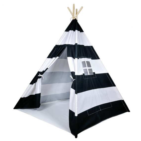 black striped kids teepee tent