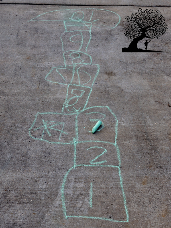 playing Hop Scotch with sidewalk chalk