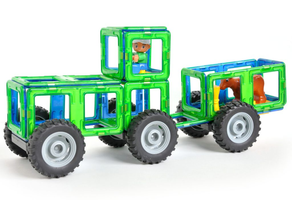 Tractor And Trailer magnetic tile set with Cow