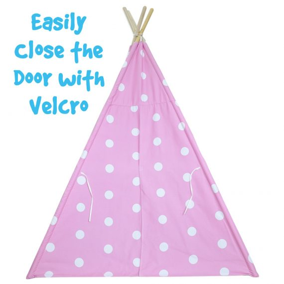 pink and white dot kids teepee with door closed