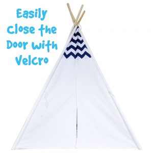 navy and white chevron kids play tent velcro door
