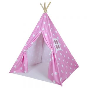 kids teepee tent, pink and white dots