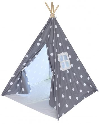 gray and white teepee with Front Door Open