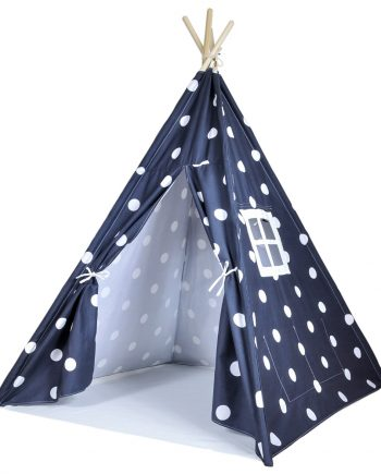 Gray teepee with white dots Door Open Angled
