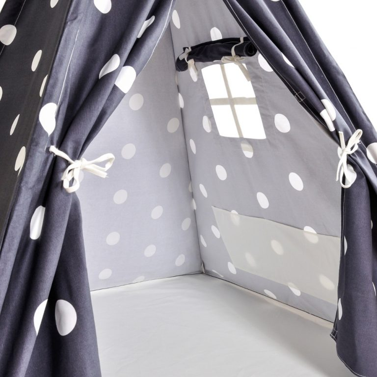 Gray teepee with white dots  interior