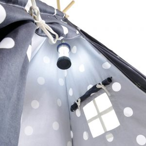 Gray teepee with white dots lantern