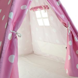 pink and white dots kids teepee interior