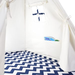 navy and white chevron tent interior