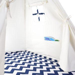 navy and white chevron tent interior