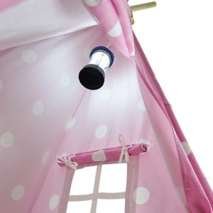 pink and white dot teepee with lantern