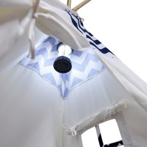 navy and white chevron play tent with lantern