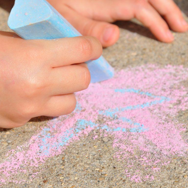 sidewalk chalk on concrete