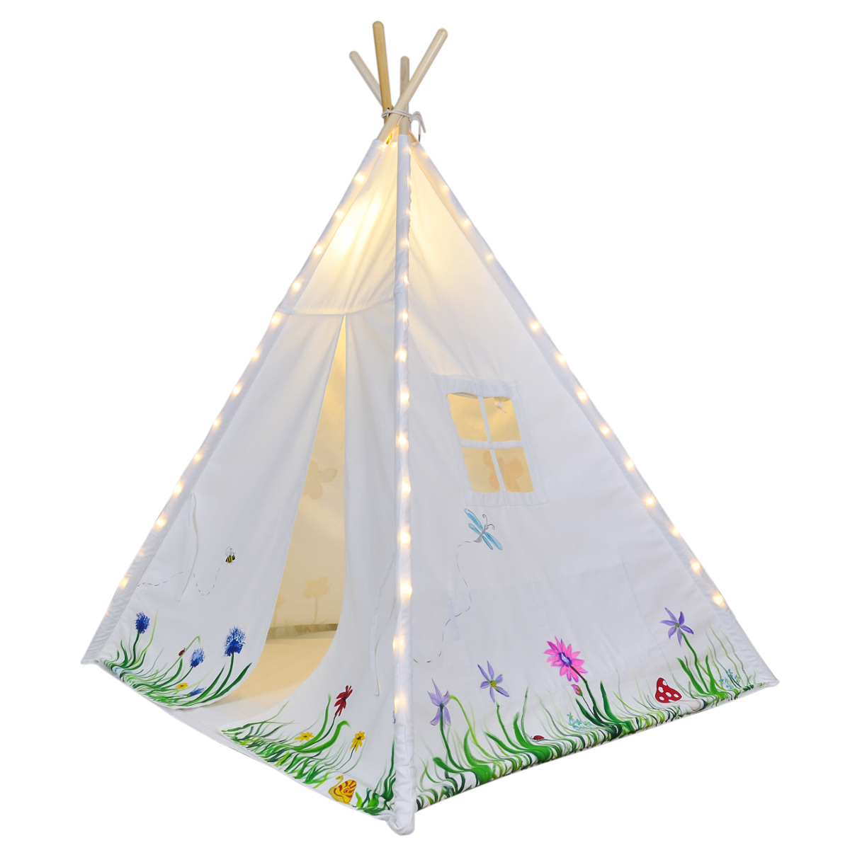 White Tent Angled_1000sq_web  sc 1 st  A Mustard Seed Toys & Kids Teepee Tent Lights Fits Most 4 Pole Tents Neat Installation ...