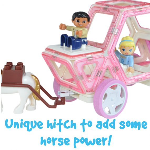 magnetic tile wheels and Carriage With Hitch And character base