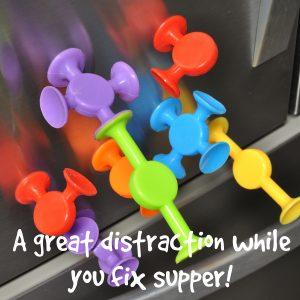 Easy Stikz suction toys on refrigerator
