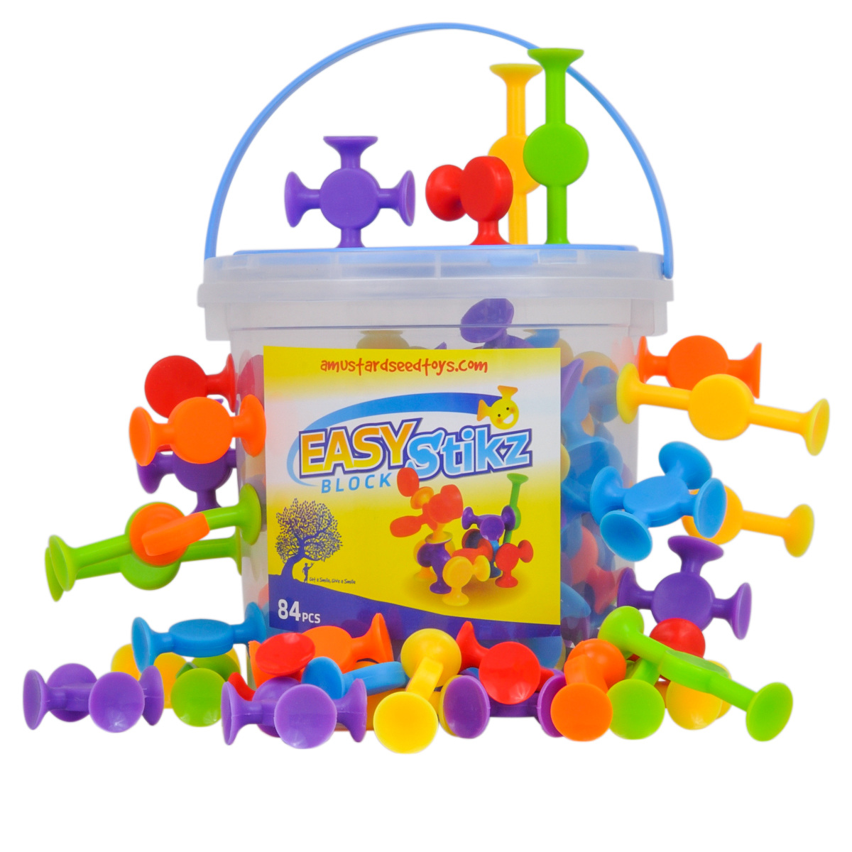Easy Stikz Suction Toys - 84 pieces, Silicone Rubber ...