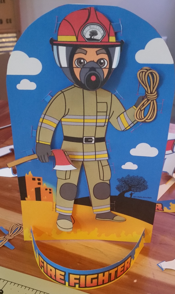 Fireman paper doll finished