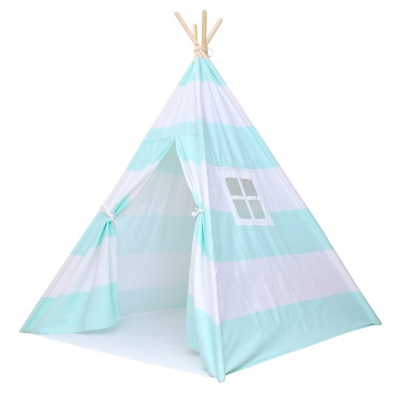 sea foam green and white striped kids teepee play tent