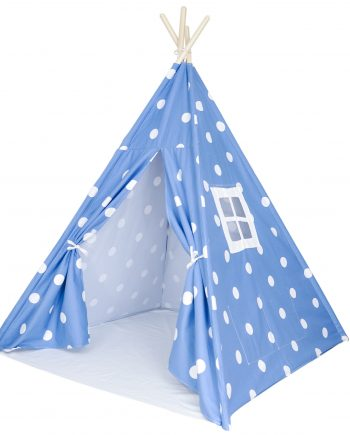 Denim blue with white dots, kids teepee tent, Teepee Main Image