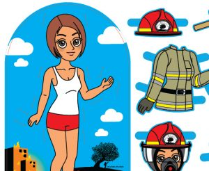female firefighter Preview - fireman paper doll for girls with clothes and equipment