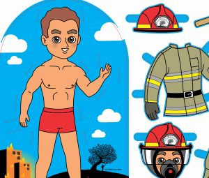 Firefighter Preview - fireman paper doll with clothes and equipment